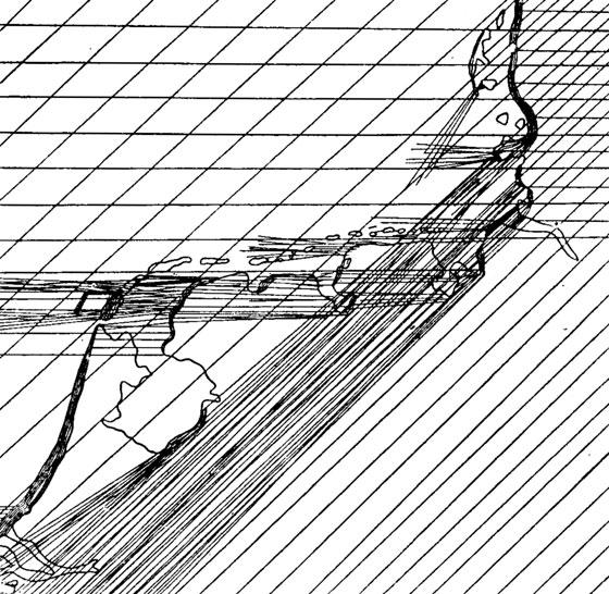 Рис. 3. Схема направлений осенних перелетов птиц в районе восточной части Северного моря.  (Из ван Доббена и Маккинка...